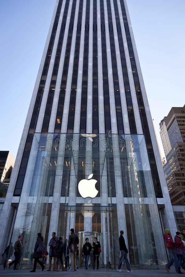 Apple Store Glass Cube In New York City Editorial Image