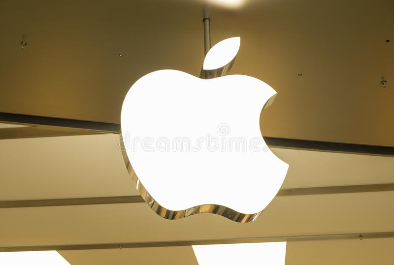 Apple store in Hong Kong. Apple store is located at the International Finance Center. stock photos