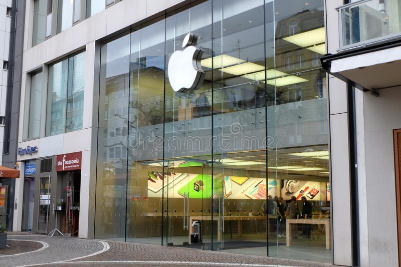 Apple Store-Ingang in Frankfurt stock afbeeldingen