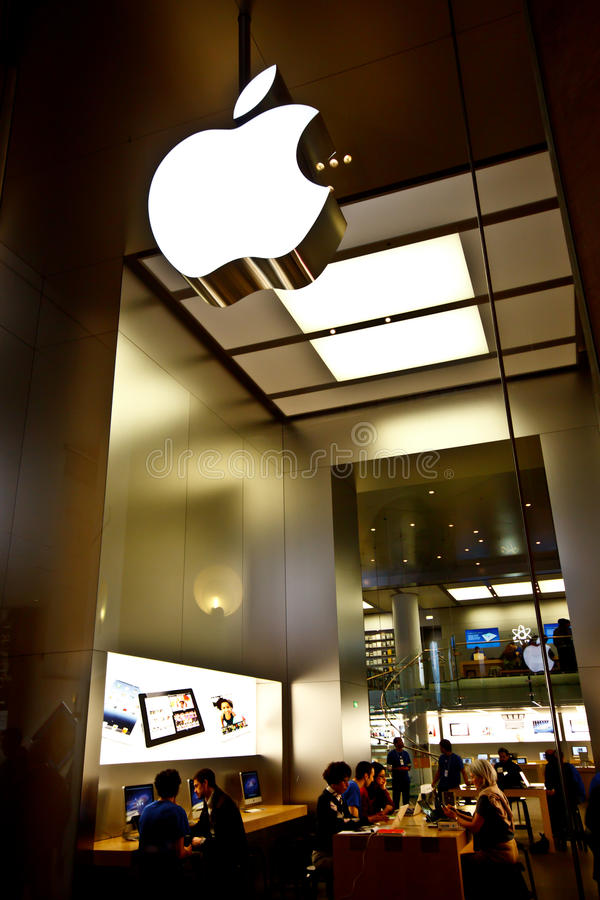 Apple Store at Louvre Museum. Apple Store at underground floor of the Louvre Museum, Paris, France on April 16, 2012. The Apple Retail Store is a chain of retail stock images