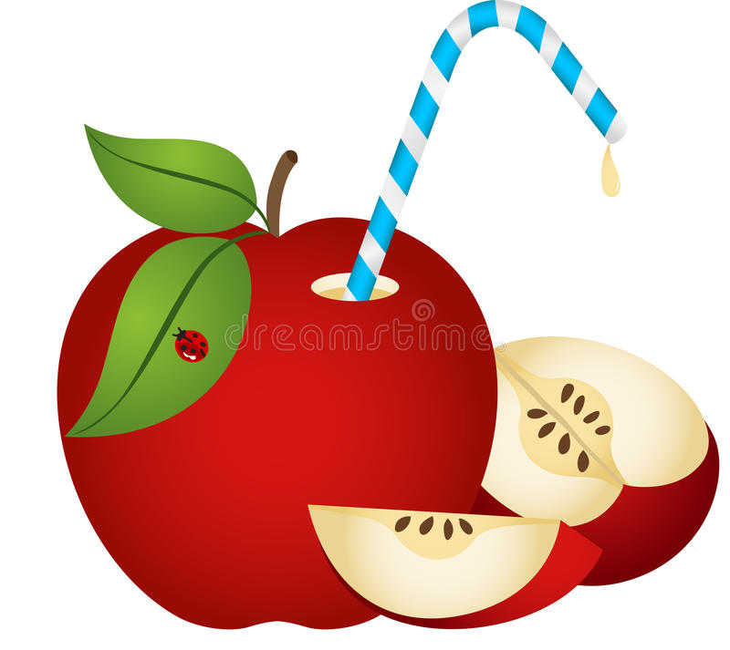 Apple with Straw. Scalable vectorial image representing a apple with straw, isolated on white vector illustration