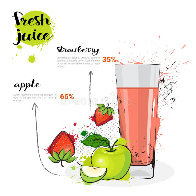 Apple Strawberry Mix Cocktail Of Fresh Juice Hand Drawn Watercolor Fruits And Glass On White Background vector illustration