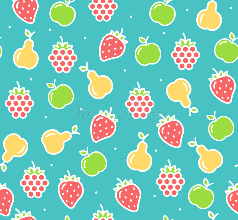 Apple, Strawberry and Pear Fruit Background Pattern. Vector. Apple, Strawberry and Pear Fruit Background Pattern on a Blue Trendy Design for the Web. Vector royalty free illustration