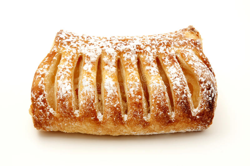 Apple strudel. An apple strudel on a white background stock photography