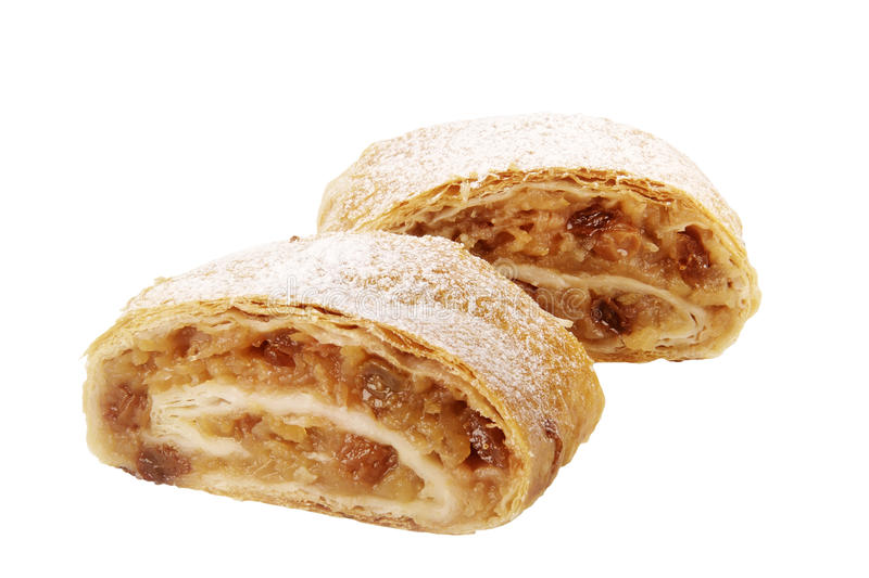 Apple strudel. Two slices of tasty Apple strudel - studio stock image