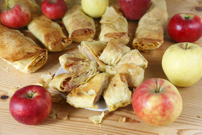Apple strudel. With apples close up stock image