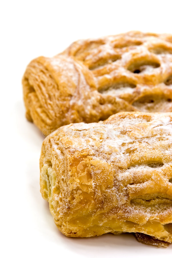 Apple Strudel Puff Pastry German, Isolated On A Wh stock photo