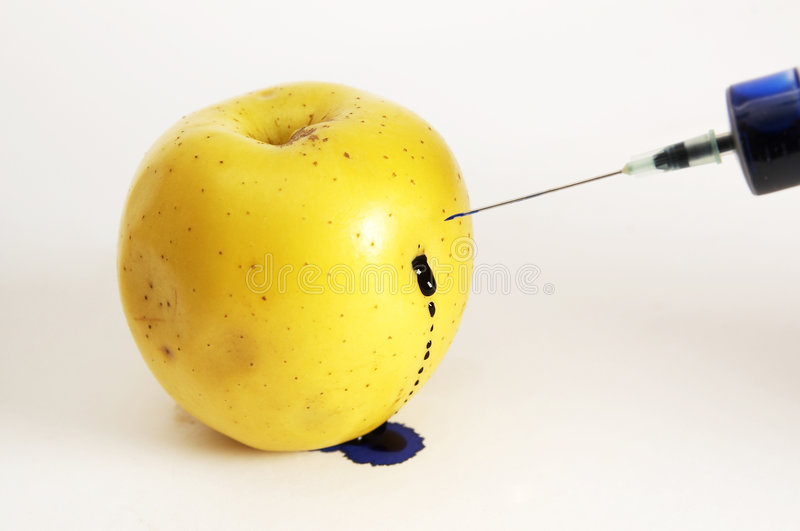 Download Apple Stung By Syringe With Poison Stock Photo - Image of poison, needle: 7945088