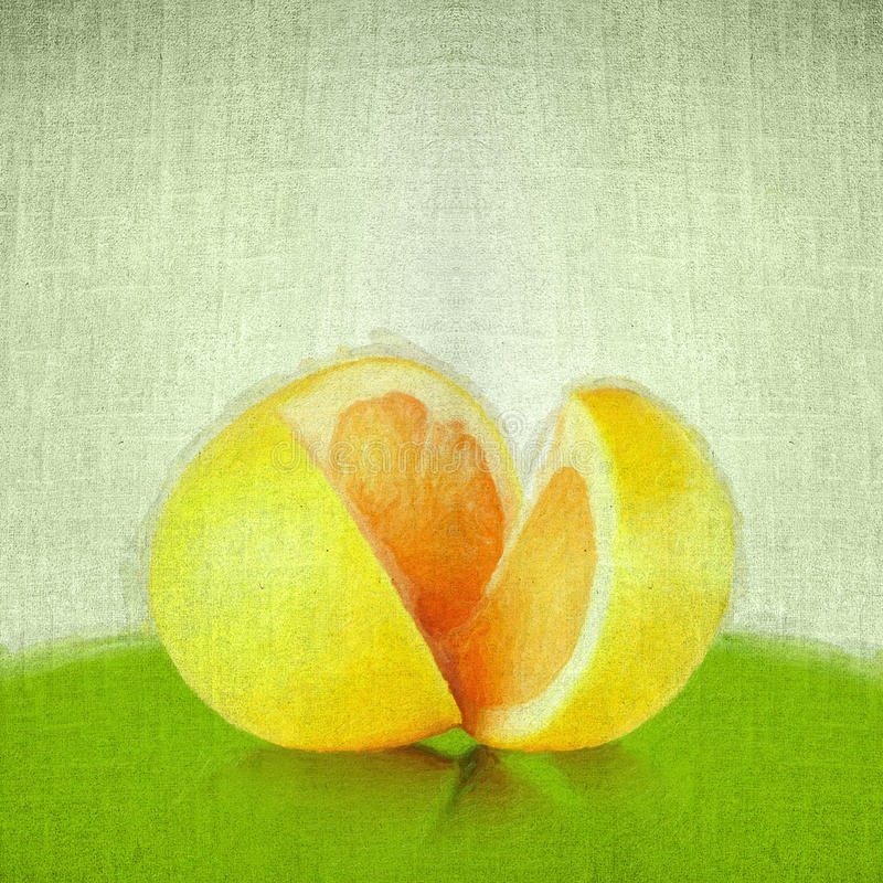 Apple in style of art. Grunge retro vintage paper texture background. Orange cut royalty free illustration