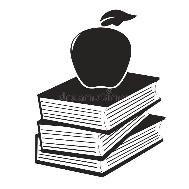 Apple sui libri illustrazione di stock