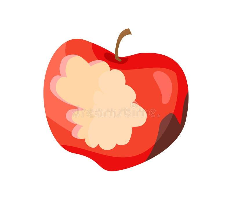 Apple sujo mordiscou ilustração do vetor do fruto ilustração do vetor
