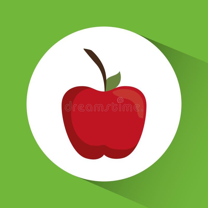 Apple symbol Design för näring och för organisk mat som stylized swirlvektorn för bakgrund det dekorativa diagrammet vågr royaltyfri illustrationer
