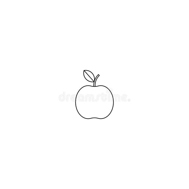 Apple symbolsvektor design för äppleöversiktsstil på vit bakgrund stock illustrationer