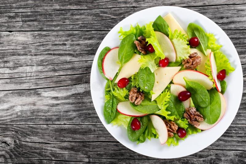 Apple, szpinak, ser, sałata liście, karmelizował orzechy włoskich, cra zdjęcie stock