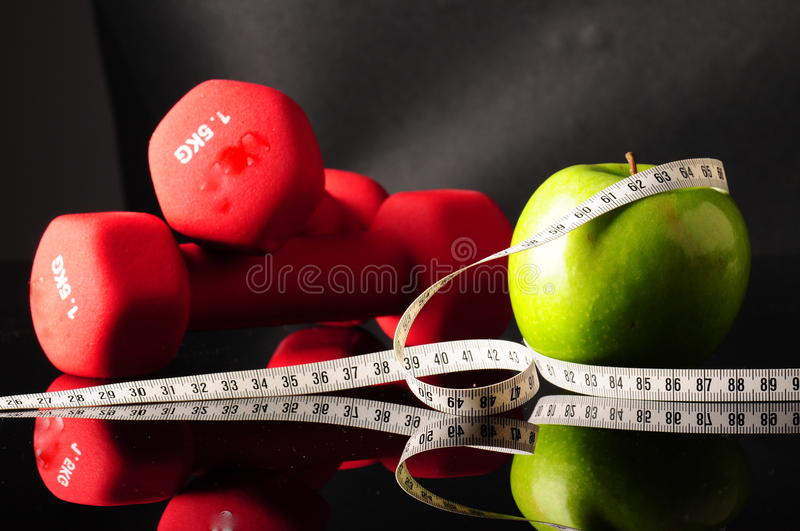 Apple and tapeline stock photography
