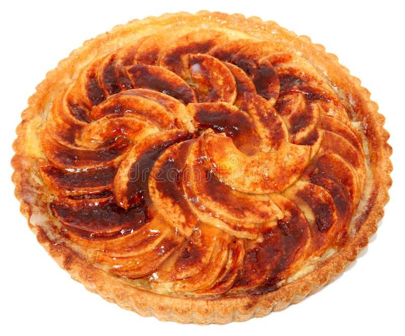 Apple tart. Closeup of apple tart isolated on white background stock photo