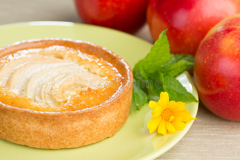 Apple Tart and Apples. Apple tart on a plate with leaves of mint and a flower of calendula, with red apples on a side royalty free stock photos