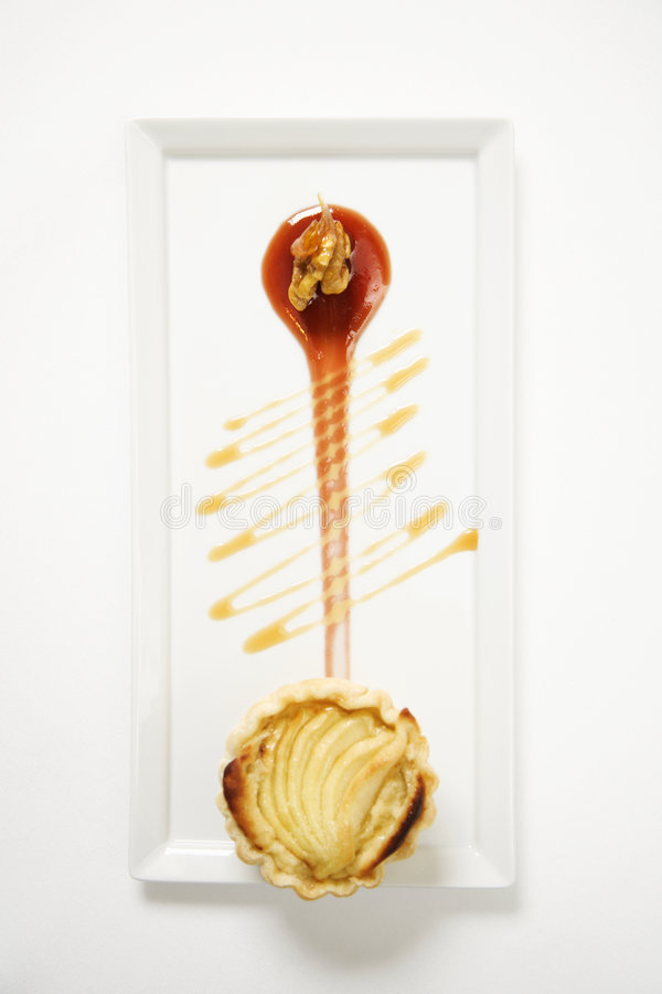 Apple tart with walnuts. stock photo