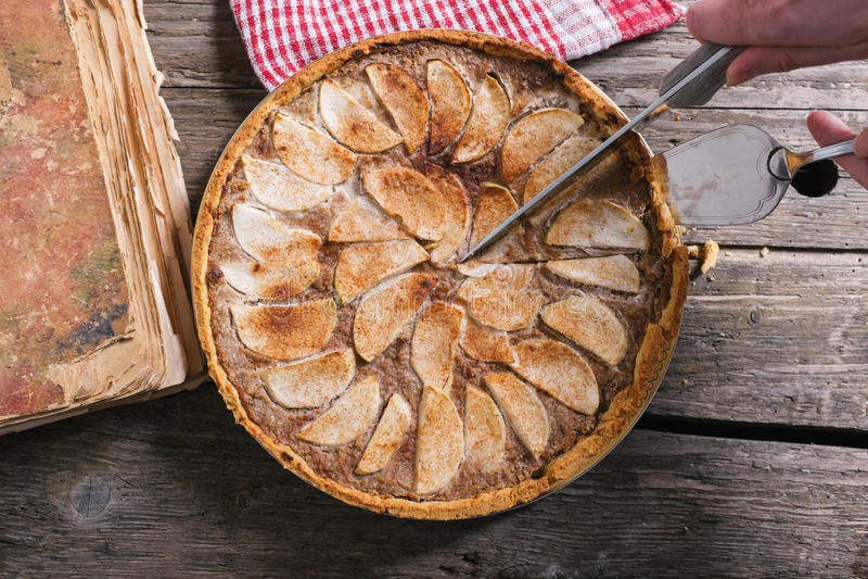 Apple tart. On wooden table royalty free stock photos