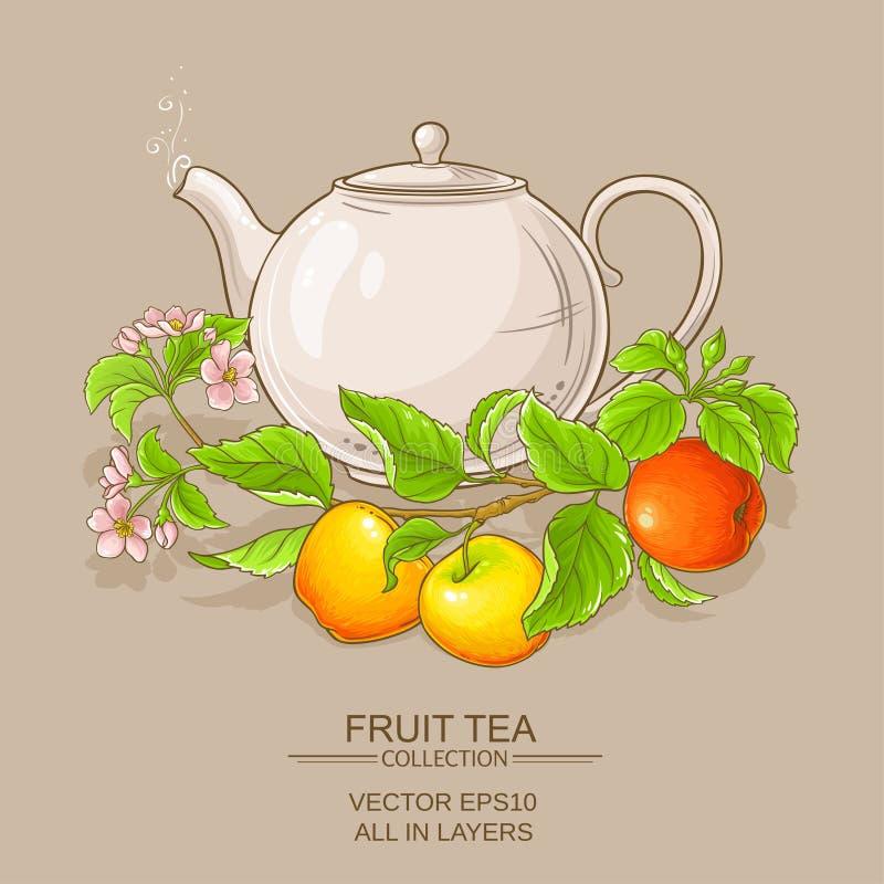 Apple tea in teapot. On color background stock illustration