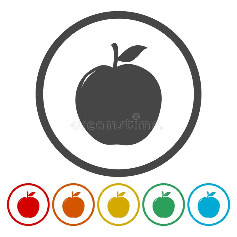Apple teckenuppsättning, på kulöra cirklar stock illustrationer