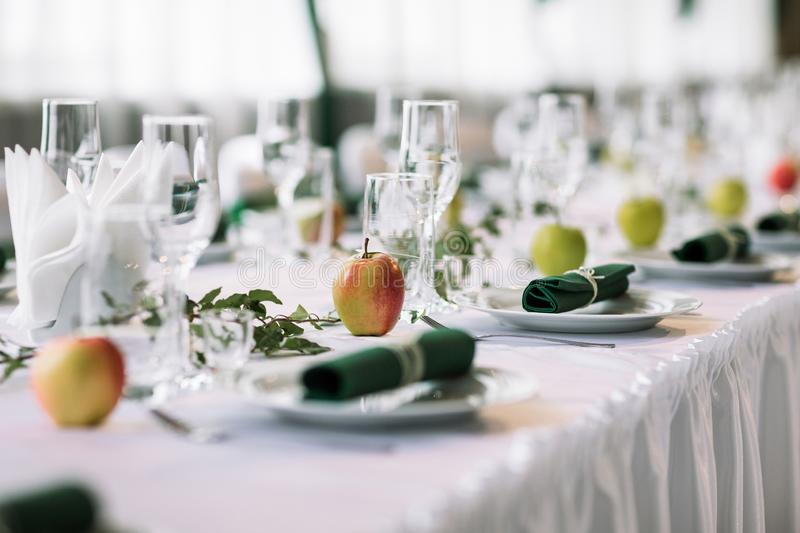 Apple themed dinner party stock images