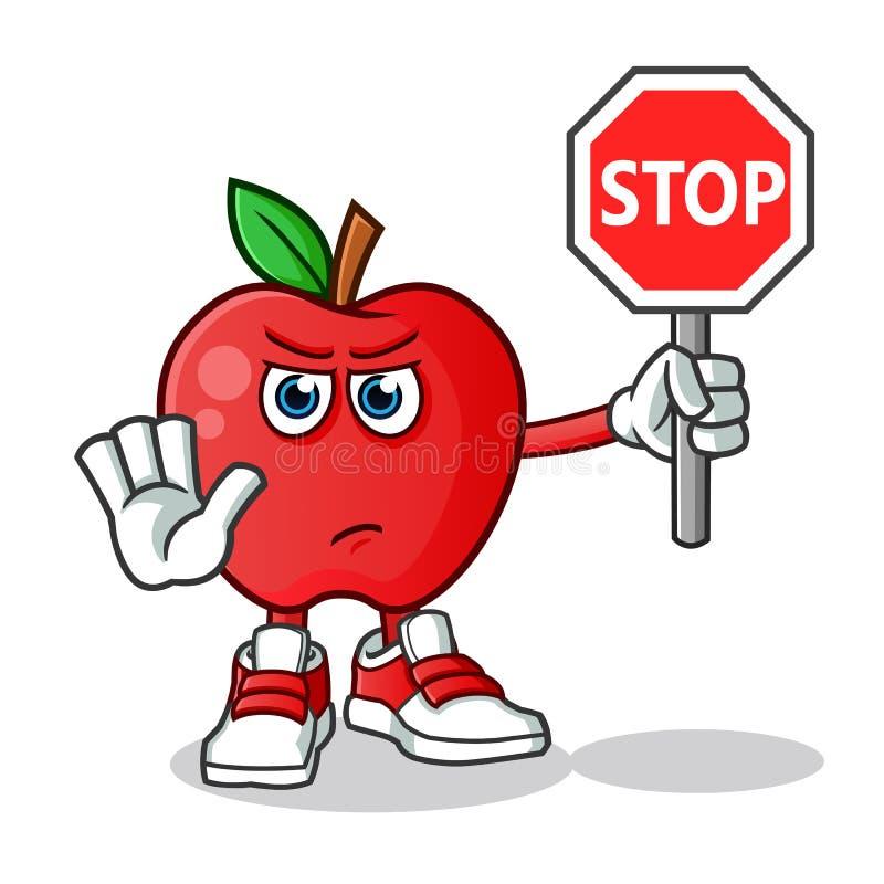Apple holding stop sign mascot vector cartoon illustration stock illustration
