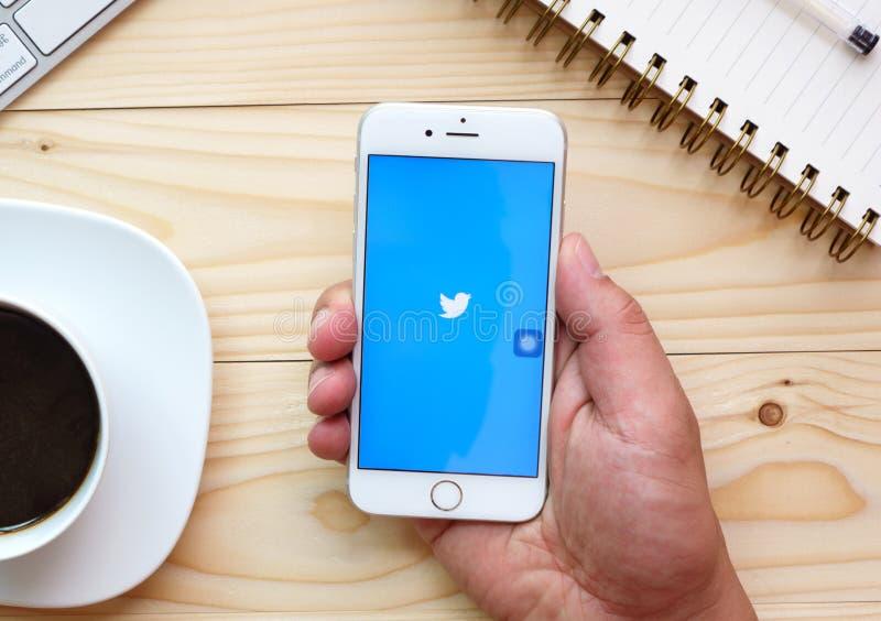 Apple-toepassing van iPhone6s de open Twitter royalty-vrije stock afbeelding