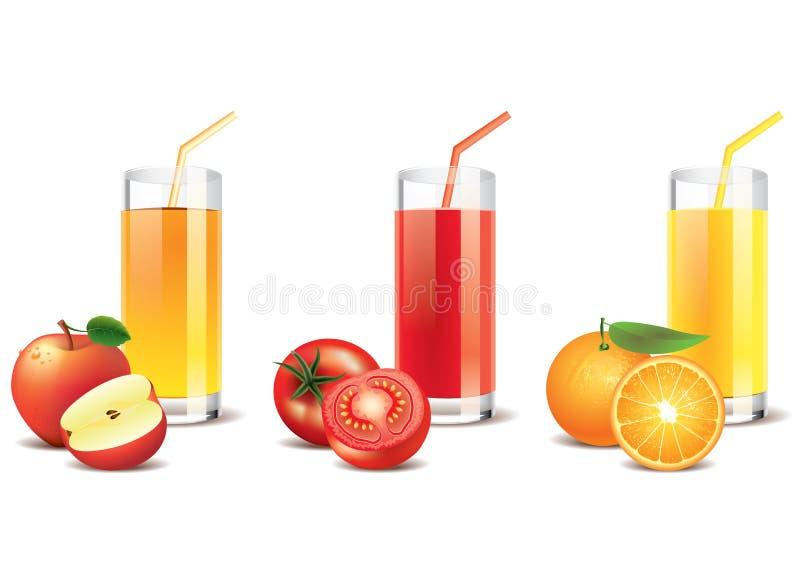 Apple, tomate e suco de laranja  ilustração stock