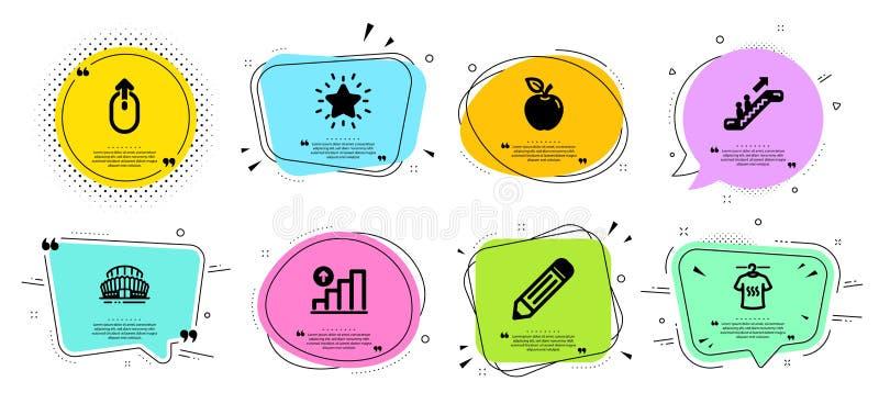 Apple, torr t-skjorta och uppsättning för grafdiagramsymboler Sportar stadion, blyertspenna och frodigt stjärnatecken vektor vektor illustrationer