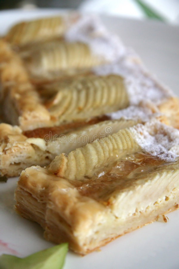 Apple tort. Apple Danish tort in slices stock images