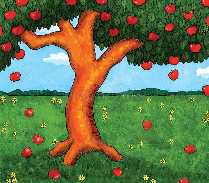 Apple träd royaltyfri illustrationer