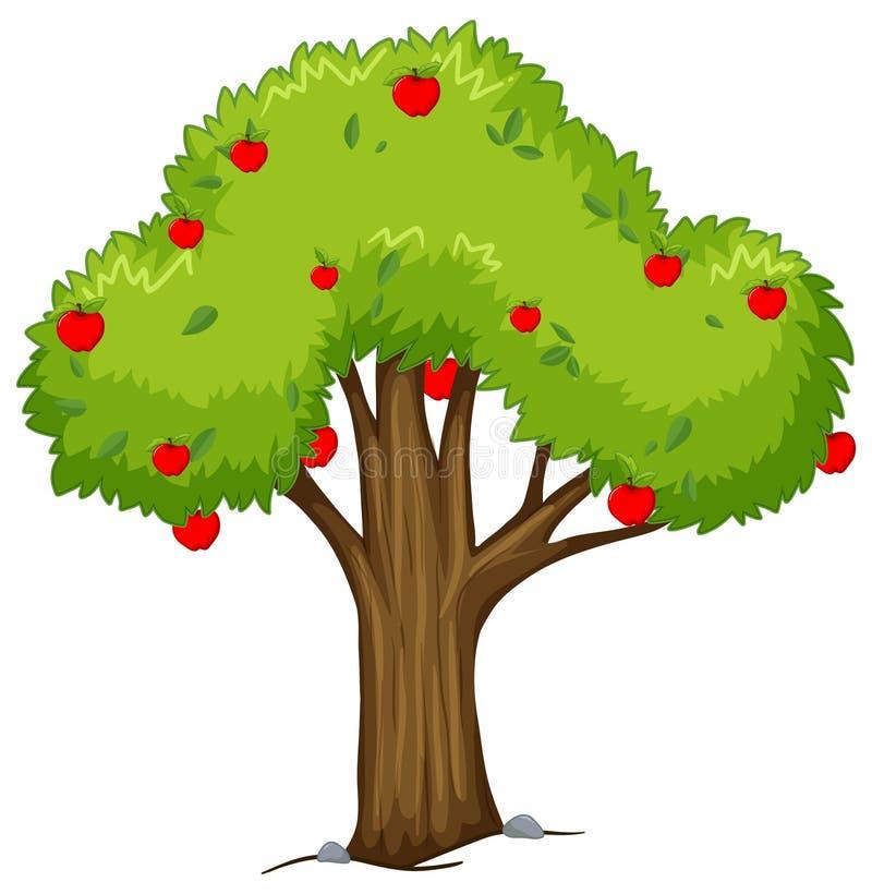 Apple träd med röda äpplen royaltyfri illustrationer