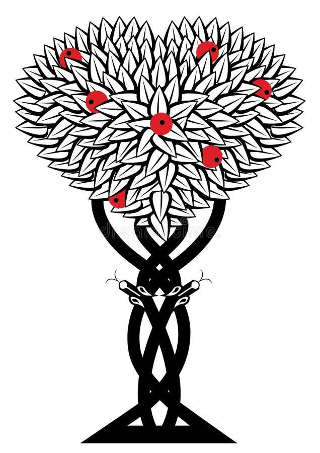 Apple träd och orm stock illustrationer
