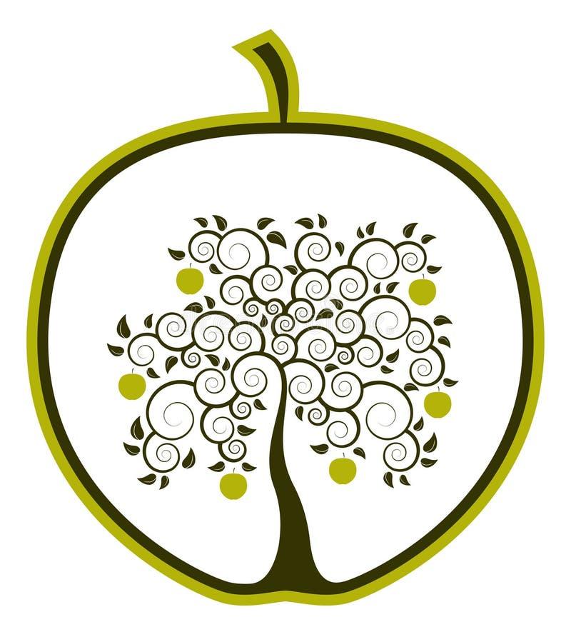 Apple tree in apple vector illustration