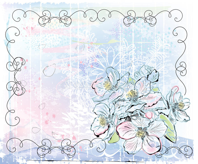 Apple tree in bloom royalty free illustration