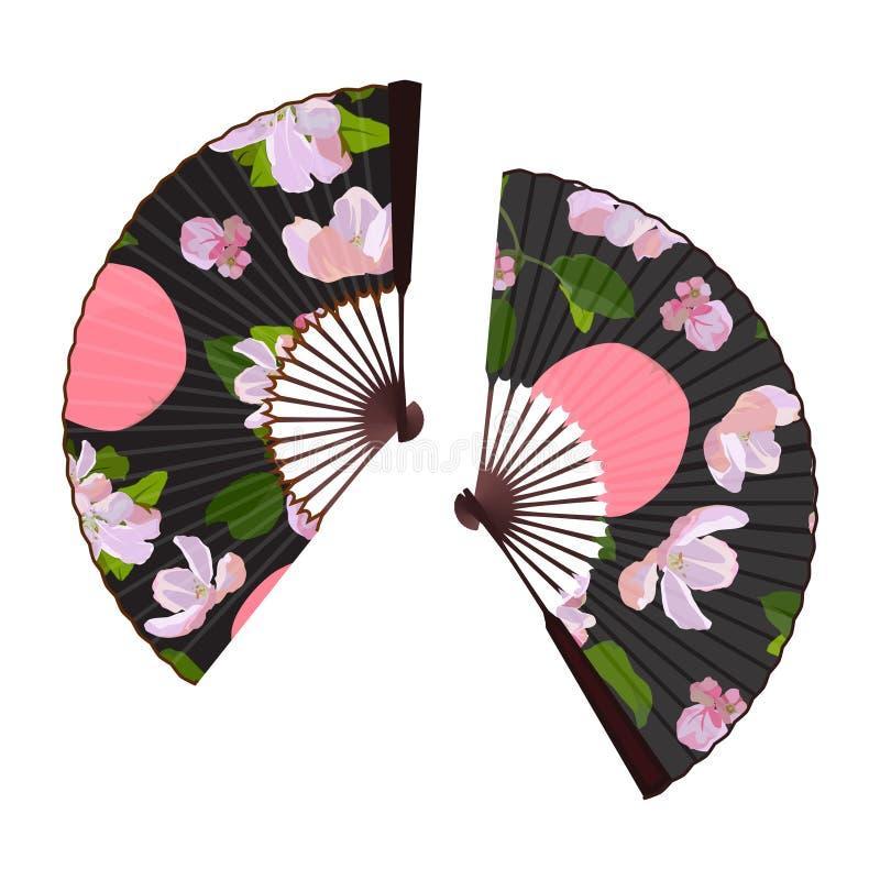 Apple tree blossom folding fan, vector isolated illustration stock photos