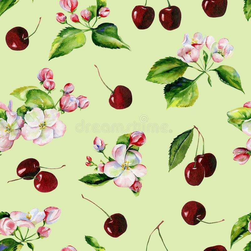 Apple tree branches and cherry seamless pattern stock illustration