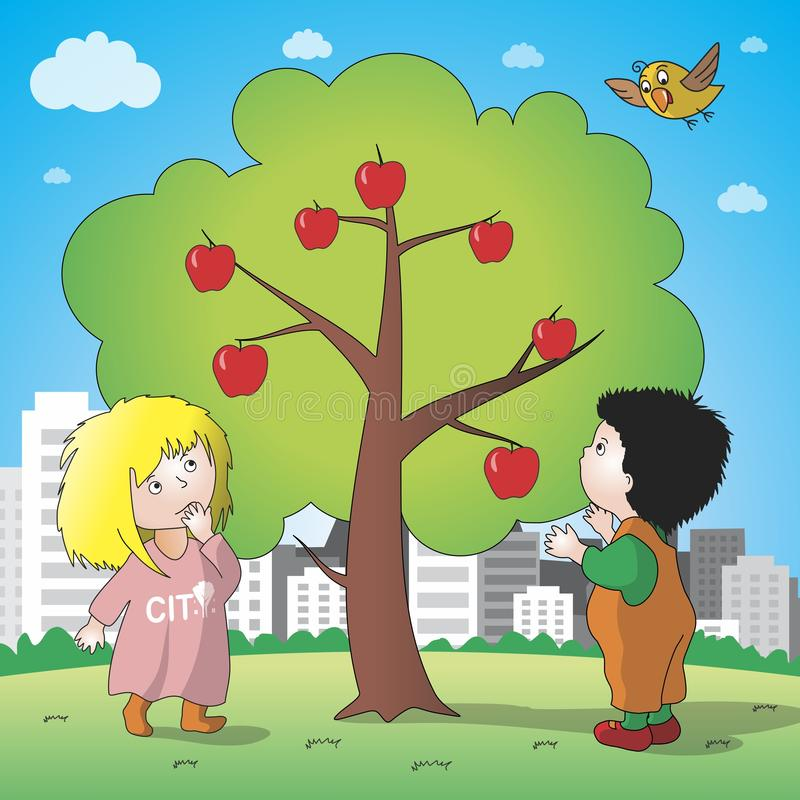Apple tree in the city. stock illustration