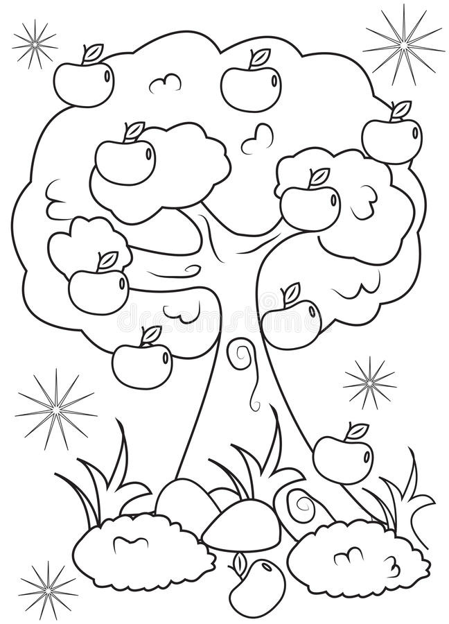 Apple Tree Coloring Page Stock Illustration Illustration Of Characters 50696986