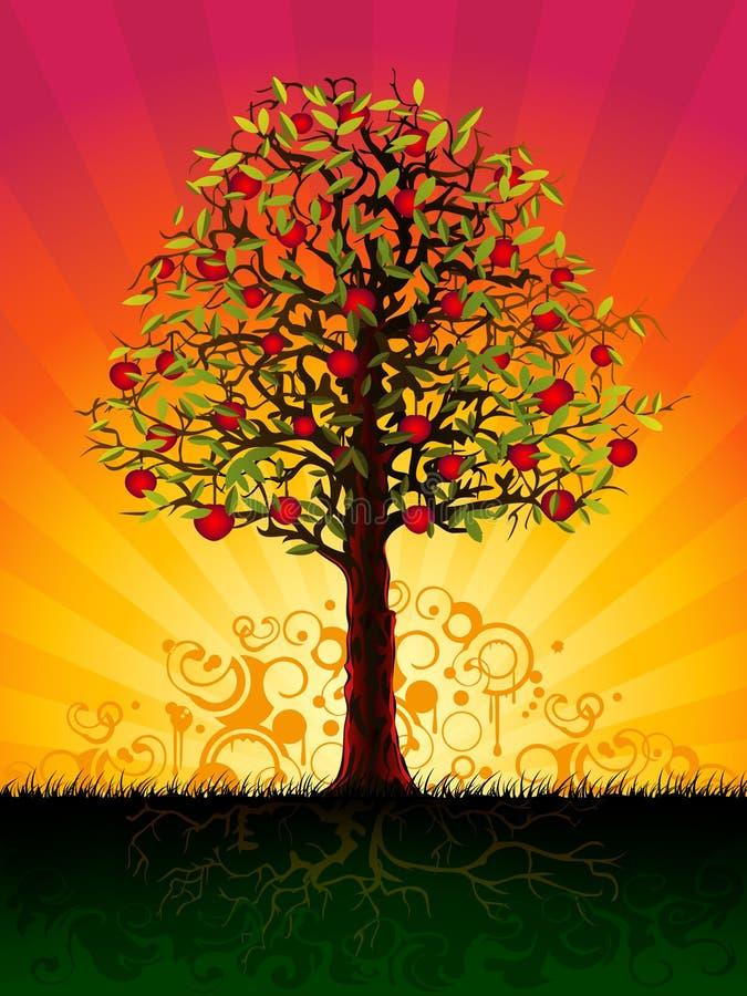 Apple tree in the evening stock illustration