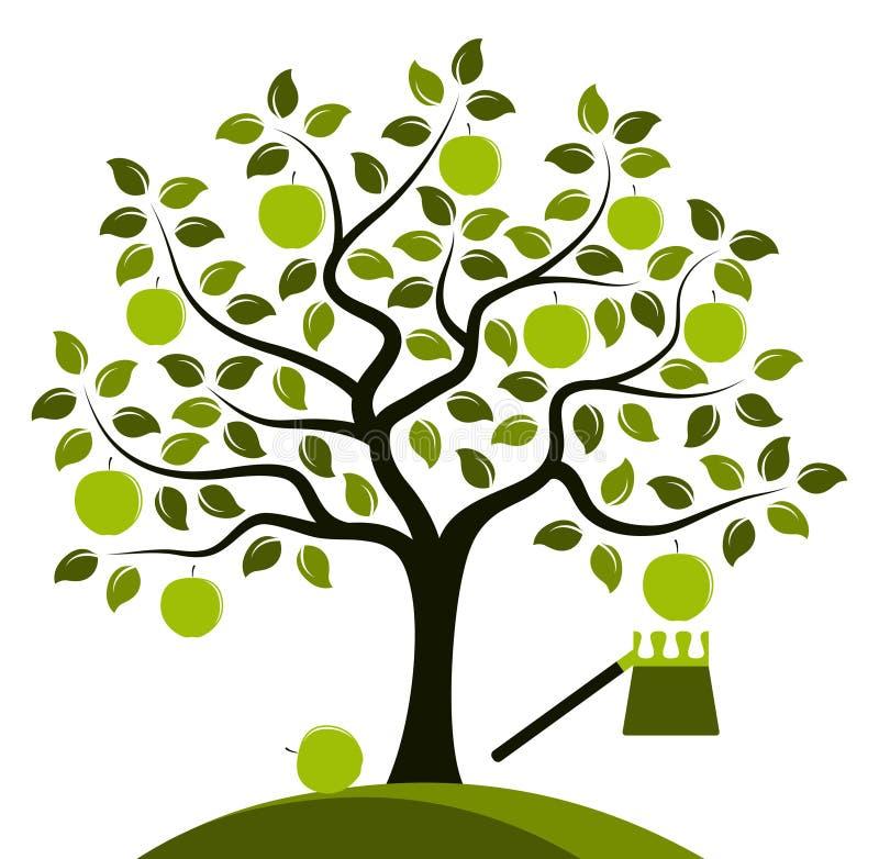 Apple tree and fruit picker royalty free illustration