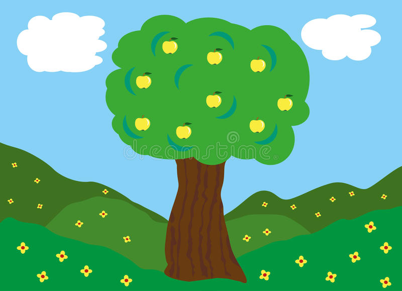Apple tree on green fields. Tree with ripe apples on green fields covered by flowers stock illustration