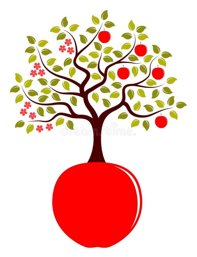 Apple tree growing from apple stock illustration
