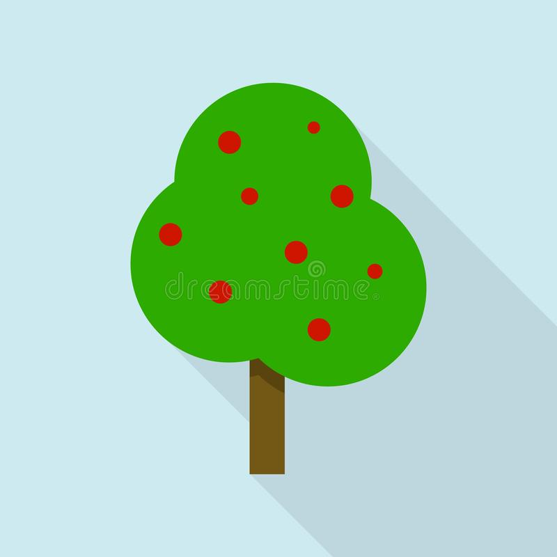 Apple tree icon, flat style. Apple tree icon. Flat illustration of apple tree vector icon for web design stock illustration