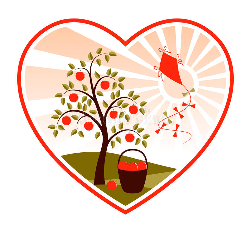 Download Apple Tree And Kite In Heart Stock Vector - Image: 15102045