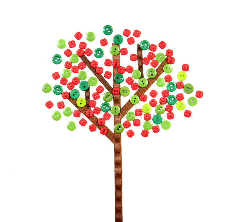Apple Tree Made Of Buttons And Ribbon Stock Photos