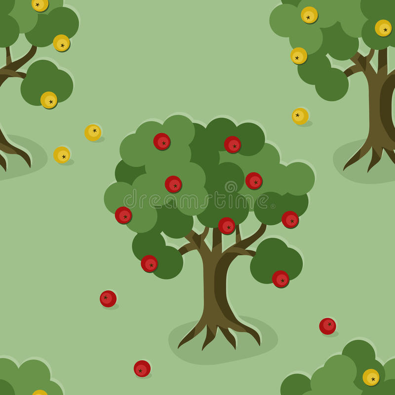 Apple trees background. Growing apple trees seamless background vector illustration