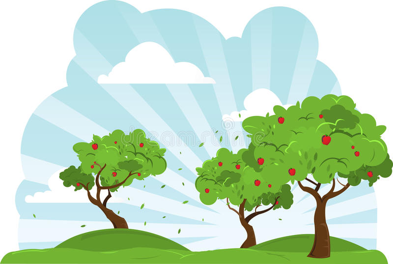 Apple Trees Blowing In The Wind. A collection of apple trees blowing in the wind on a colorful hillside against a blue sky. All items broken out into layers for royalty free illustration