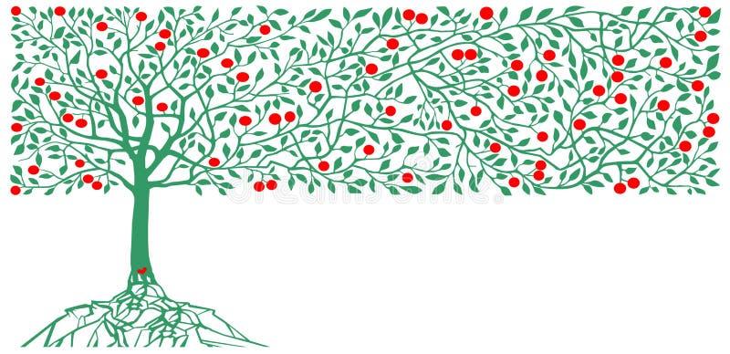 Apple trees decoration. Art illustration vector vector illustration